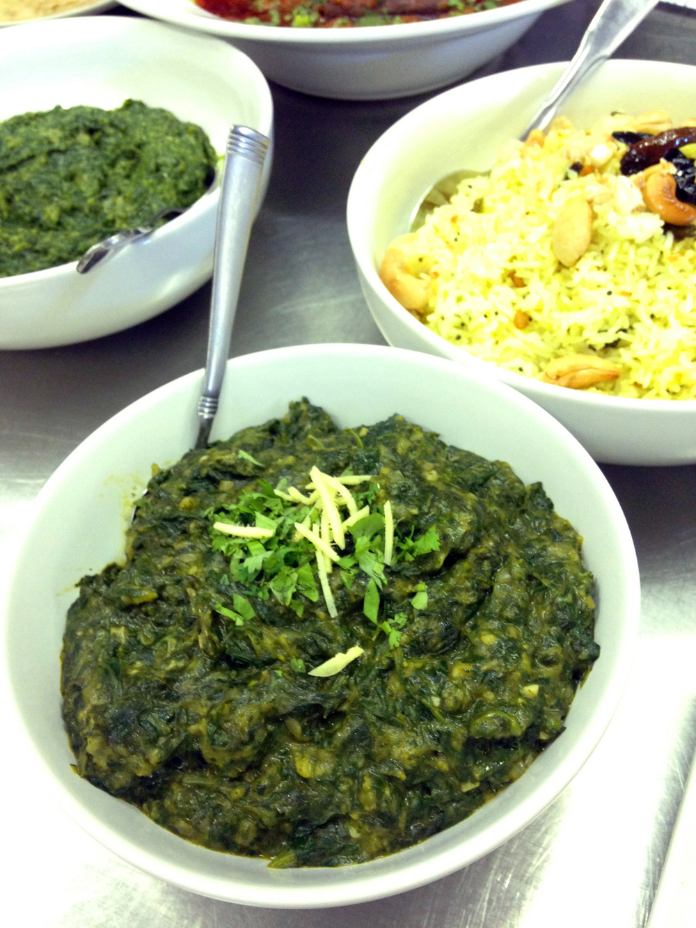 Punjabi greens consisted of mustard greens, spinach, and fenugreek leaves