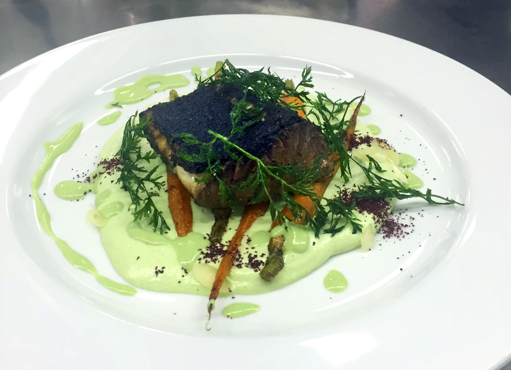 My smoked bluefish with ramp cream and roasted baby carrots