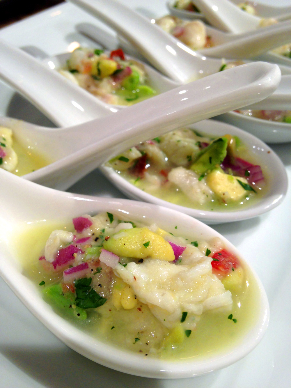 The fluke ceviche was prepared by Lucrecia, a student from Panama