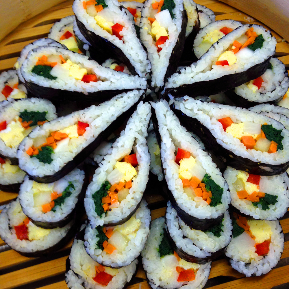 The beautiful Korean-style sushi prepared by student KyoungAh Kim