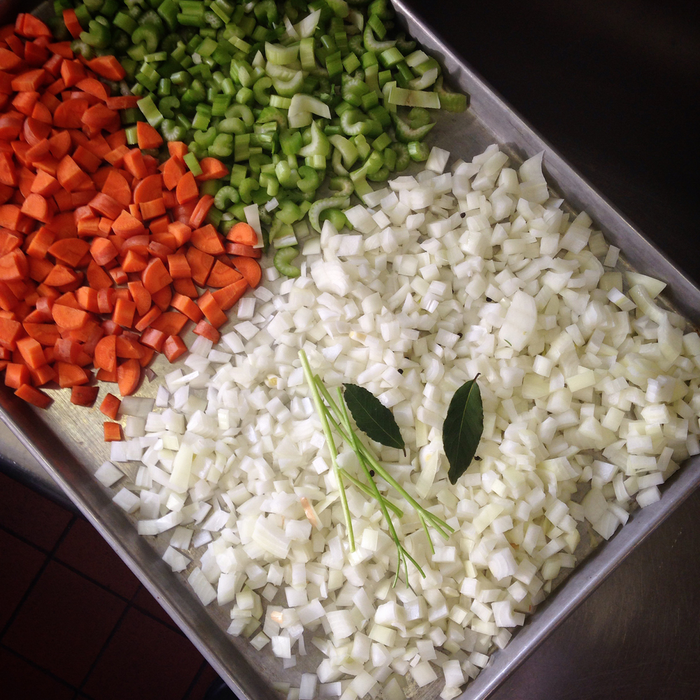One of the numerous batches of mirepoix I prepared for chicken stock