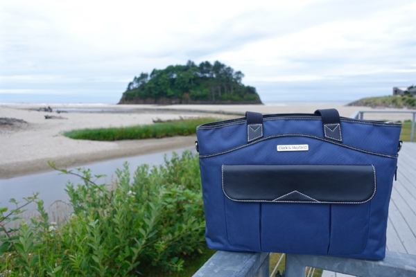 Clark & Mayfield Newport laptop bag at Proposal Rock in Neskowin, Oregon