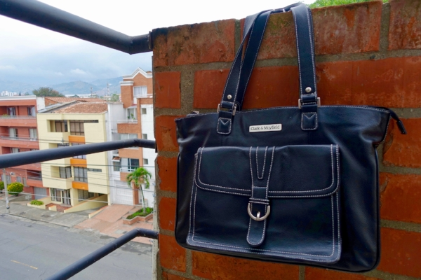 Michelle's Stafford Pro leather laptop bag in Medellín, Colombia