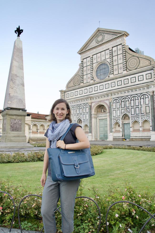 Michelle at the Piazza Santa Maria Novella with the  Stafford Pro handbag