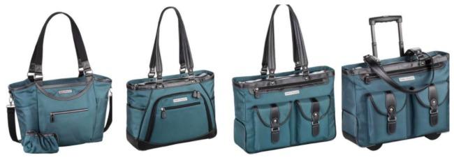 Bellevue handbag ,  Sellwood Metro handbag ,  Marquam Metro XL Laptop Handbag , and  Marquam Rolling Laptop Bag in deep teal.durable nylon.