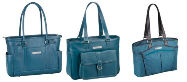 Hawthorne leather laptop bag, Stafford Pro leather laptop handbag, and the new Reed laptop handbag featuring a polyester nylon material, in deep teal.