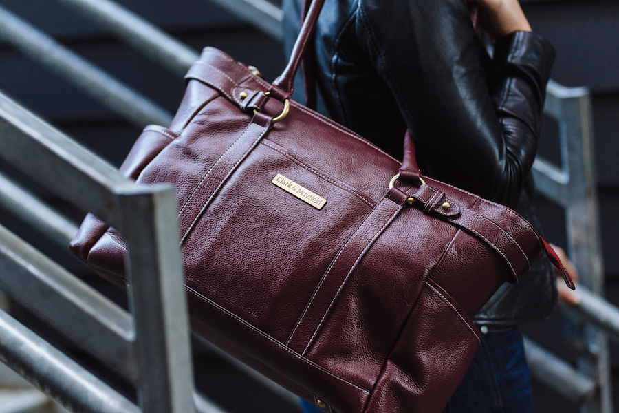 """Shop now:  17.3"""" Sellwood leather handbag in Port Red >"""