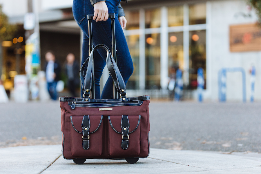 "Shop now: 18"" Marquam Metro rolling laptop bag in Bordeaux Brown"