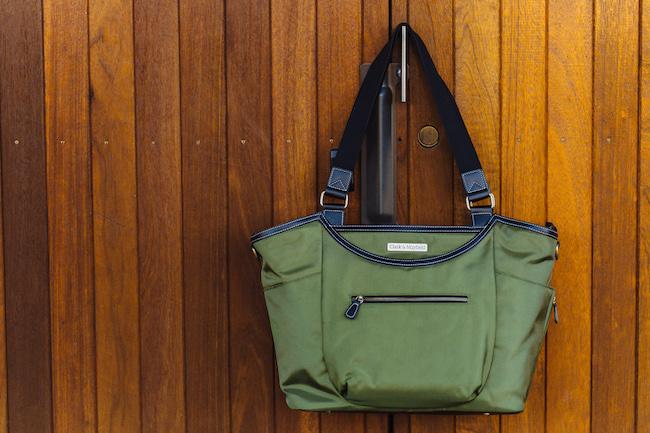large nylon laptop handbag for women - green