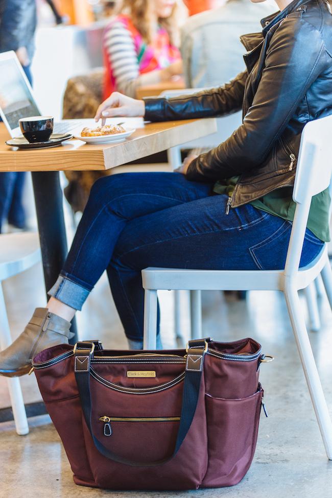 large nylon laptop handbag for women - red