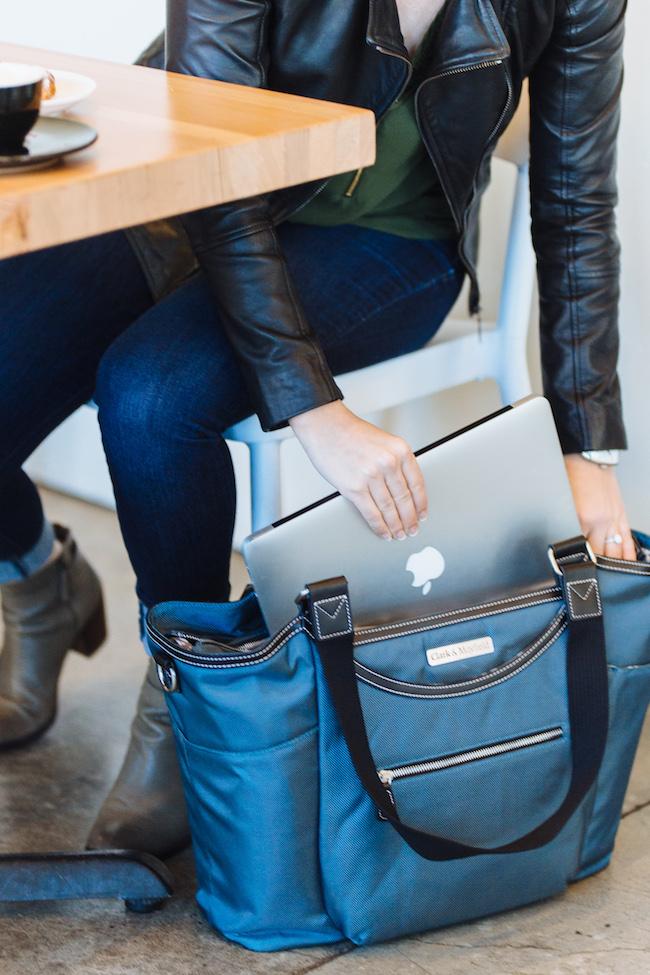 large nylon laptop handbag for women - blue