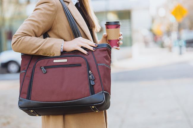 ClarkMayfield Sellwood laptop handbag for women in burgundy
