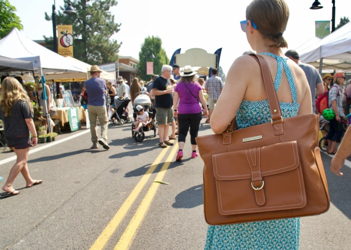 """At the Bend Saturday Market with the  Stafford Pro 17.3"""" laptop bag in camel"""