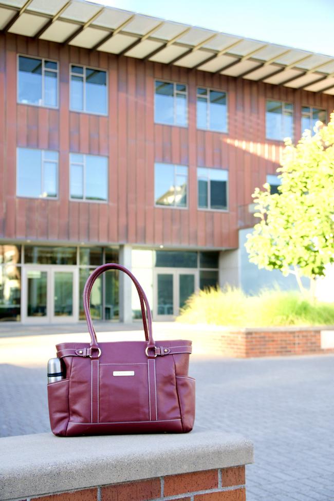 "Hawthorne Leather Laptop Handbag 17.3"" (Port Red)"
