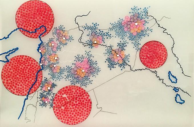 4. Tiffany Chung (b. 1969, Vietnam),UNHCR Red Dot Series – Tracking the Syrian Humanitarian Crisis April – December 2012, 2014-2015.