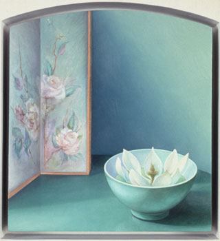 """The Lotus of Sharon  "", one of Laura Lasworth's paintings on display at Hunsaker/Schlesinger gallery"
