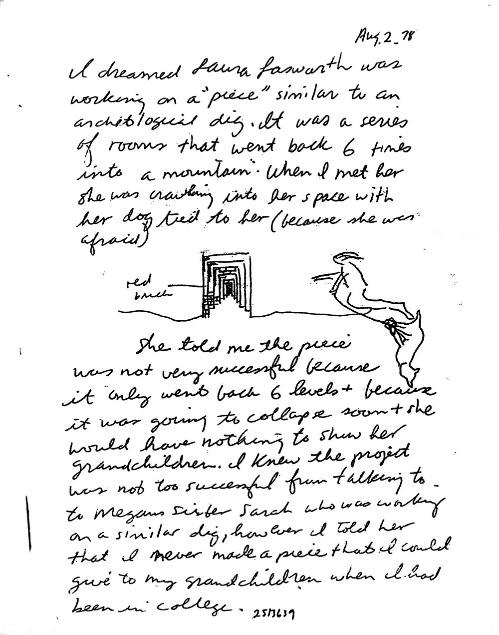 Jonathan Borofsky dream journal Aug. 7, 1978