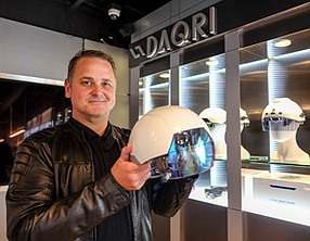 Vision of Future: Brian Mullins with Smart Helmet at Daqri's downtown office. Photo by Ringo Chiu.