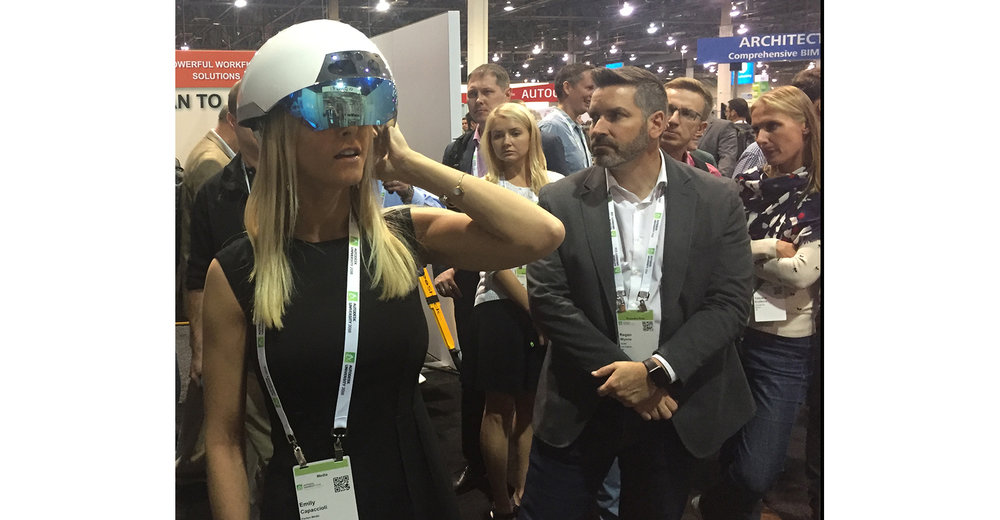 Emily Capaccioli, NED's intrepid West Coast rep, went to Las Vegas to try out the Smart Helmet for herself, making us all very jealous.   Photo: Brian Buntz