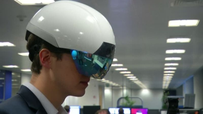The Daqri Smart Helmet uses augmented reality to superimpose data and work instructions in front of the wearer's eyes so they appear as interactive floating 3D holograms.