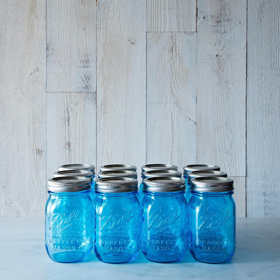 Pretty Blue Ball Mason Jars