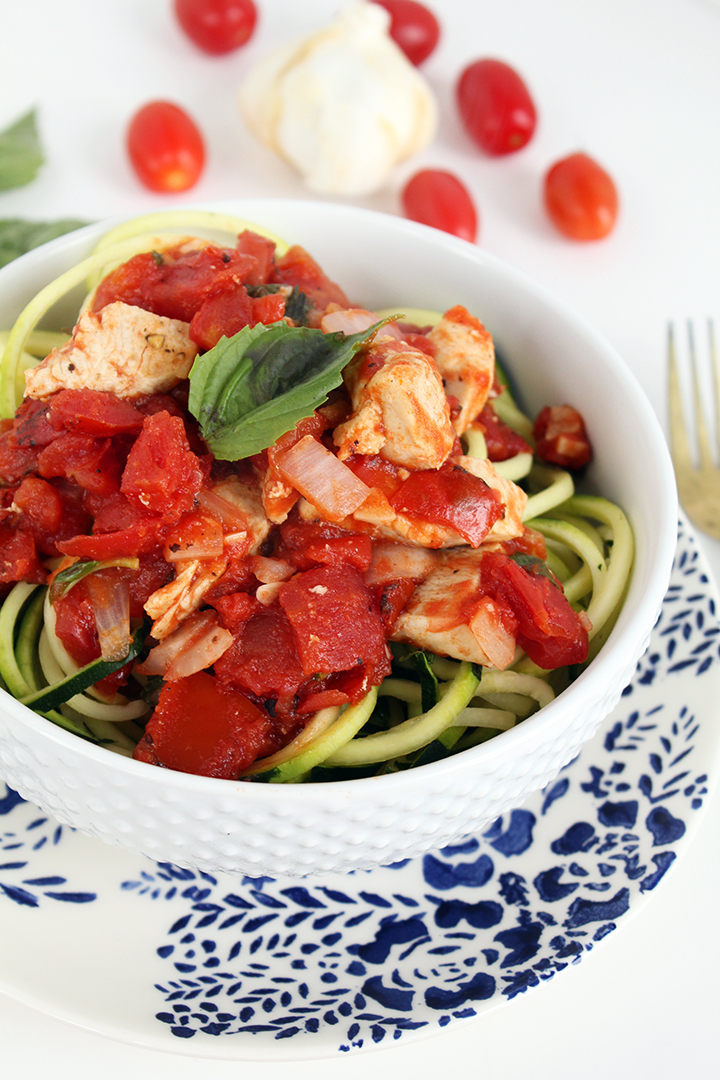 chicken pomodoro. - one of the many RECIPES MADE  using a SPIRAL kitchen gaDGET / photo & RECIPE from inspiralized.com