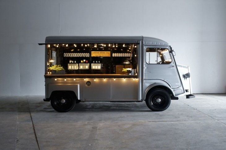 Union wine company tasting truck  A vintage French Citroën H Van brought back to life to dispense a new wine concept - wine in a can.