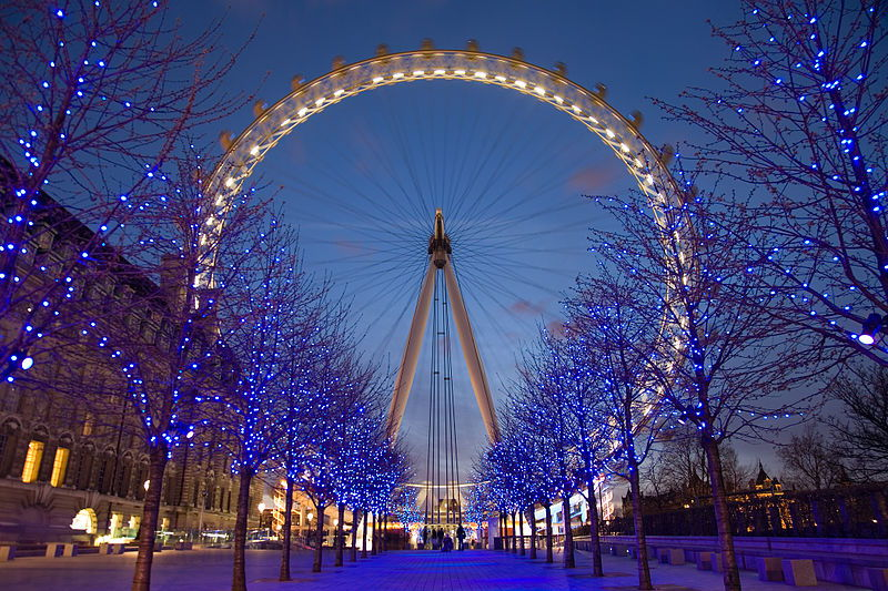 the london eye opened in 2000. located right on the banks of the thames river - gives visitors a bird's-eye view of London's landmarks