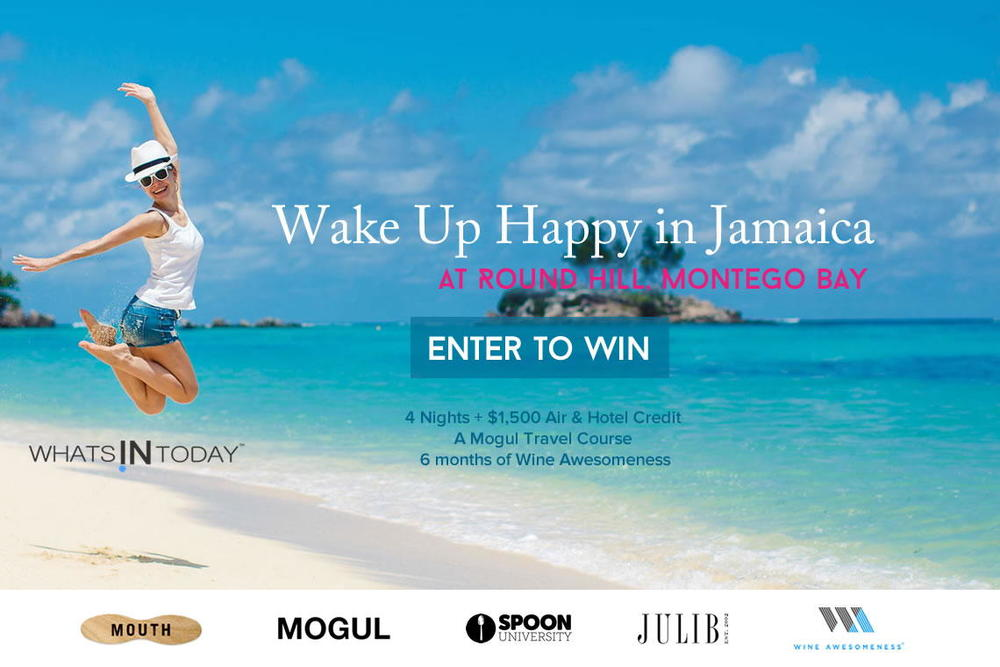 Win the Wake-Up Happy in Jamaica Giveaway. Win 4 Nights at Luxury Round Hill Hotel, Montego Bay and more.  Prizes also include a Mogul Travel Course from onmogul.com, plus 6 months of WineAwesomeness.com