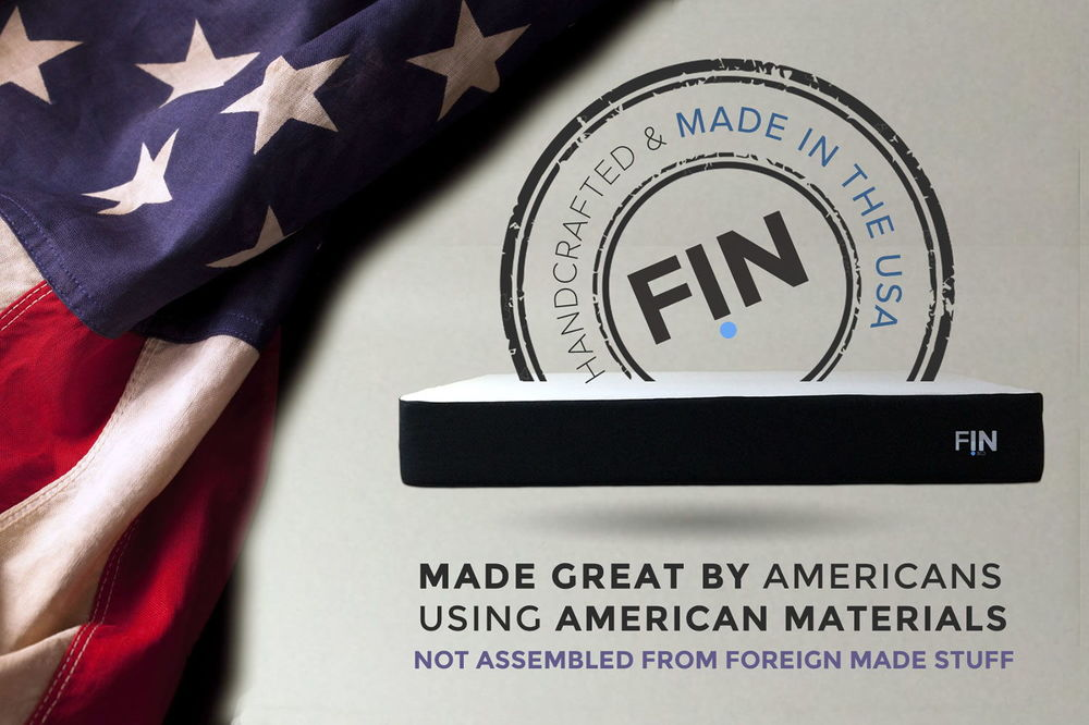 ALL THE MEMORY FOAM AND LATEX IS 100% made in the USA.Finbed is made great by americans. using ONLY americaN SOURCED MATERIALS. tHERE ARE NO FOREIGN COMPONENTS that GO INTO THE MANUFACTURE OF A FINBED -- NOT ASSEMBLED FROM FOREIGN STUFF.