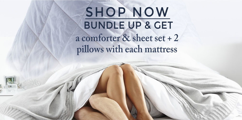 GET THE BUNDLE  - a comforter & sheet set, plus 2 Pillows WHEN YOU PURCHASE A SLEEP AWESOMENESS MATTRESS. you just pick the color