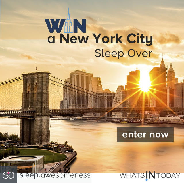 win a new york city sleep over presented by sleep. awesomeness and whatsintoday. with food courtesy of mouth.com. Stay at the Benjamin hotel in the City that Never Sleeps they specialize in sleep so you can be at your best through their rest & renew program. Prize value: $2,350