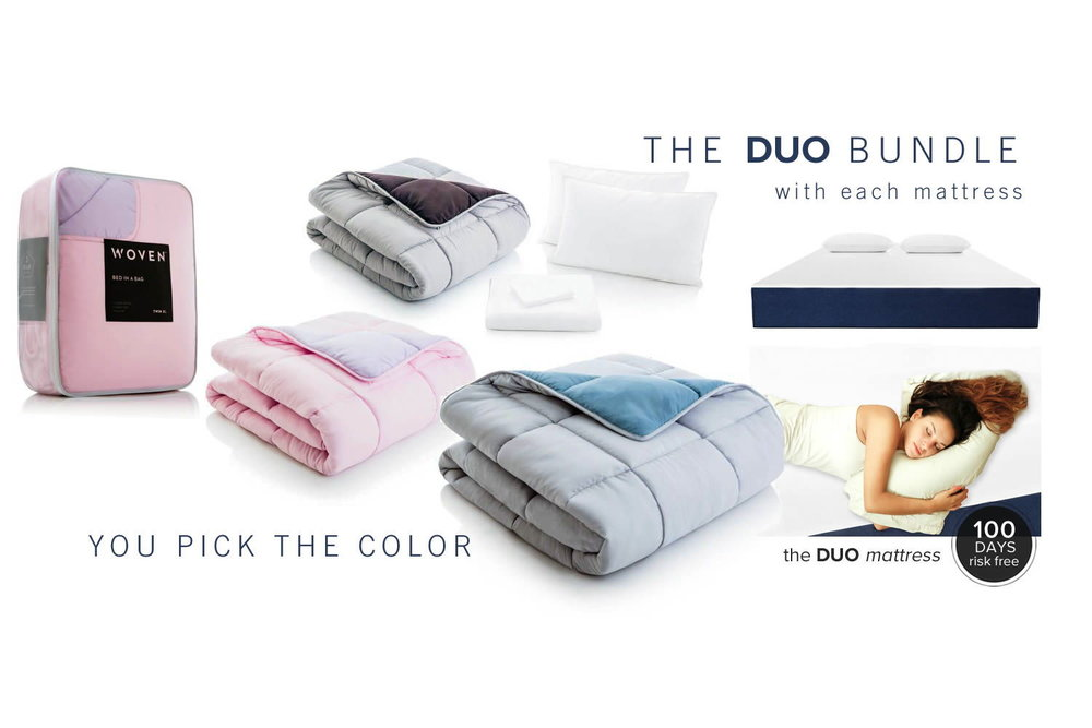 JUST PICK your COLOR,.  Bundle up this winter and save big when you purchase a duo or flex hybrid mattress from sleep awesomeness. Get the comforter ,  a, sheet set plus 2 pillows with each sleep awesomeness mattress purchase.