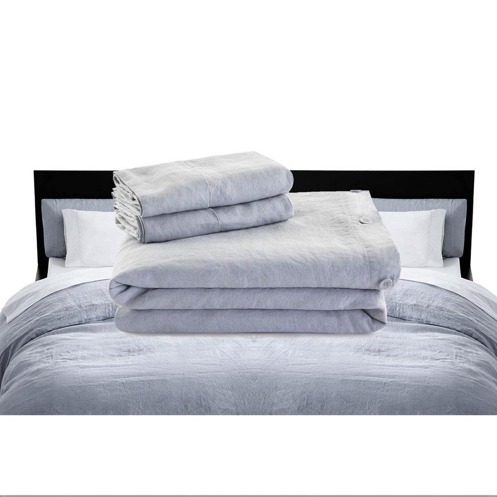 French Linen Duvet Cover + 2 Pillow Shams