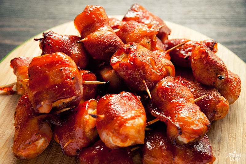 This BBQ sauce works well for easy variation like these bacon wrapped nuggets.  Great hors d'oeuvres for the week-end games or quick easy dinner.