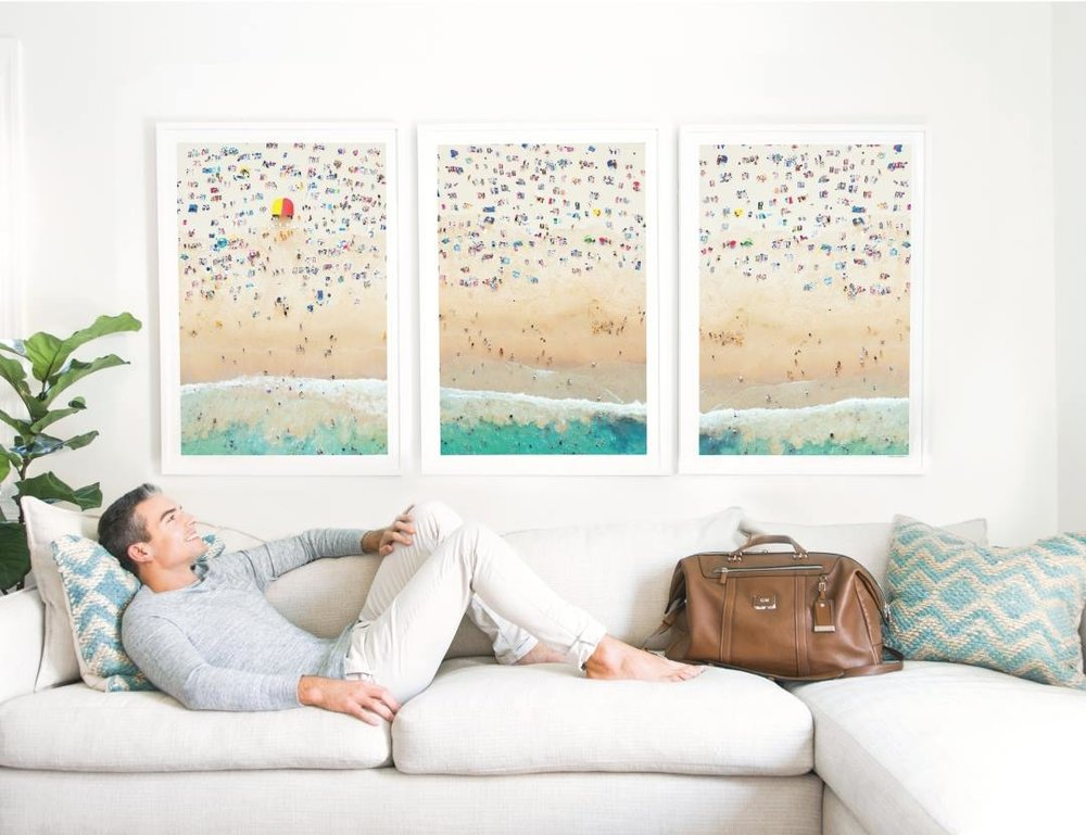 Gray Malin is interested in interior design and through his webiste sells framed prints of his work.