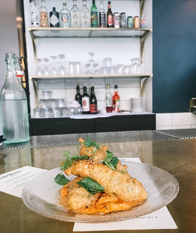 Fried Squash Blossoms with honey pimento cheese. Available for #HappyHour. #Ledlow