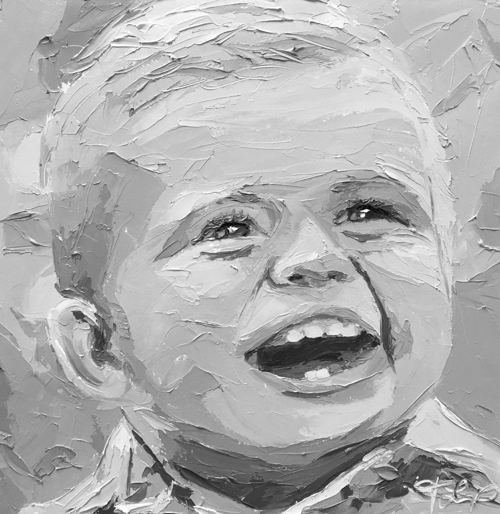 Black & White Palette Knife Painting Portraits