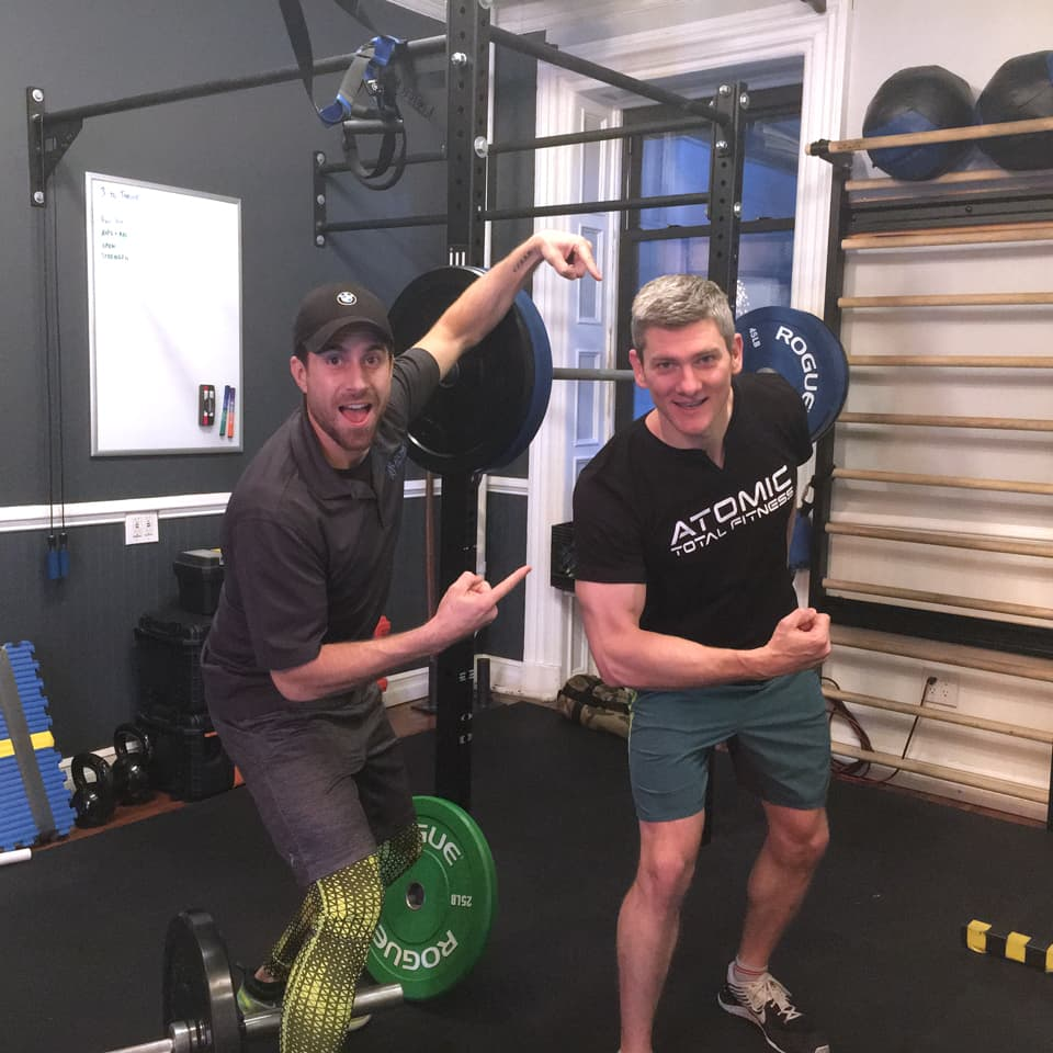 I've been training with Adam for the last 6 months, and I have had a wonderful experience.  He keeps things fresh each session while also making sure that we are working toward my larger goals. I am feeling better (and moving more weight) than i have since I was in high school (nearly 20 years ago!)!  - - Joe F.