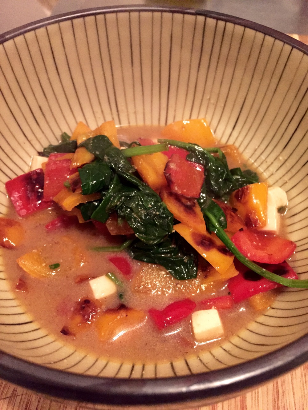 Peppers, spinach and miso broth