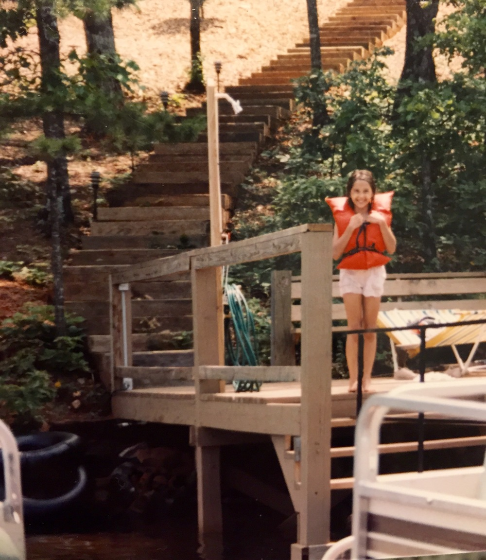 Smaller me, life jacket, lake, circa 1987