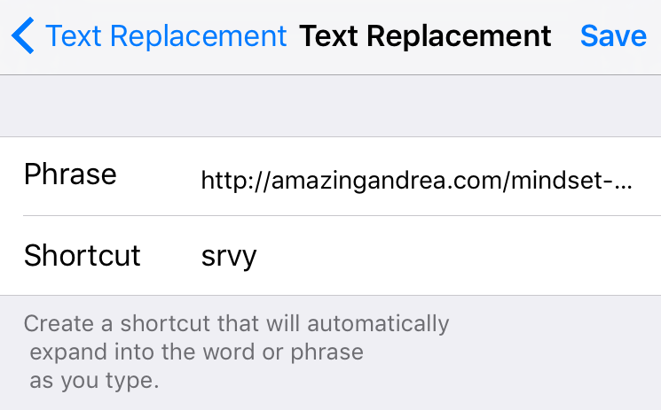 iPhone Text Replacement for URLs and Text Blocks