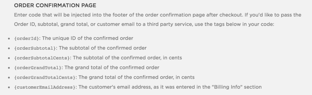 Squarespace Order Confirmation Variables