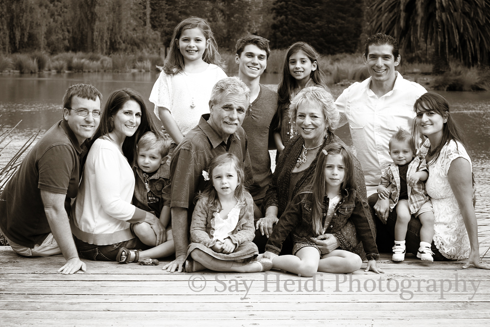 3 generations portrait outdoors