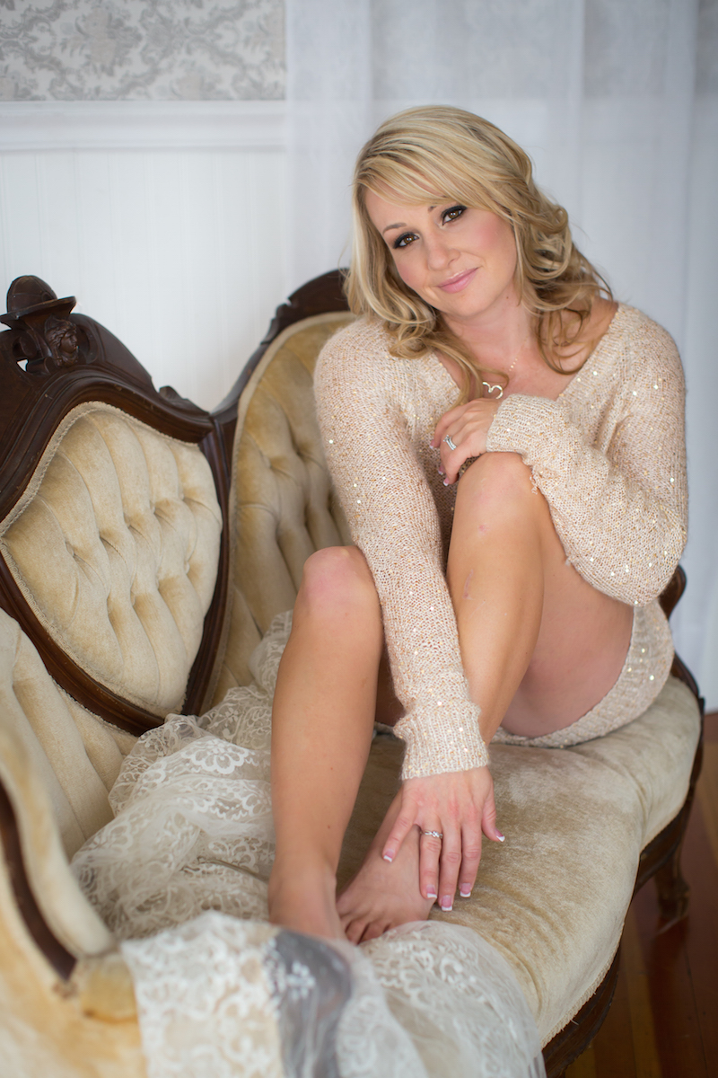 This gold, sparkly sweater is a new item in the Studio Closet! Available for Boudoir Clients!