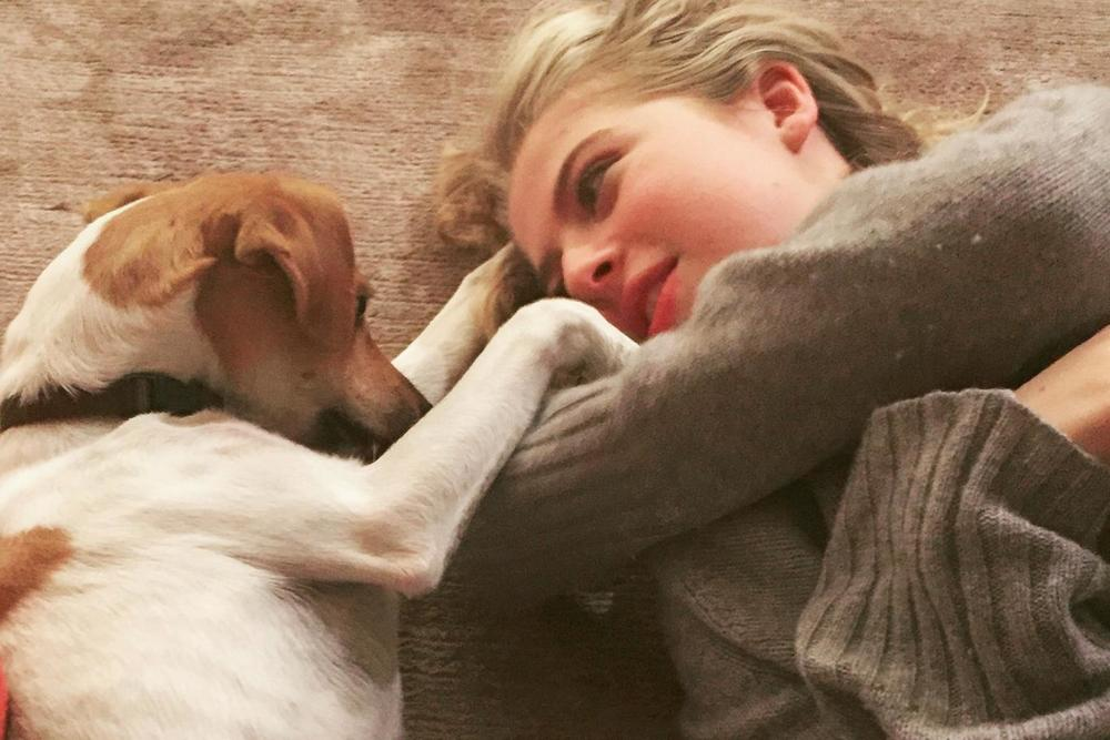 Anais Gallagher with her dog WaHF Tommy