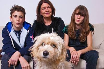 Kate Morris with her children, Jude and Belle, and their rescue dog, Ava.    DAVID SANDISON FOR THE TIMES