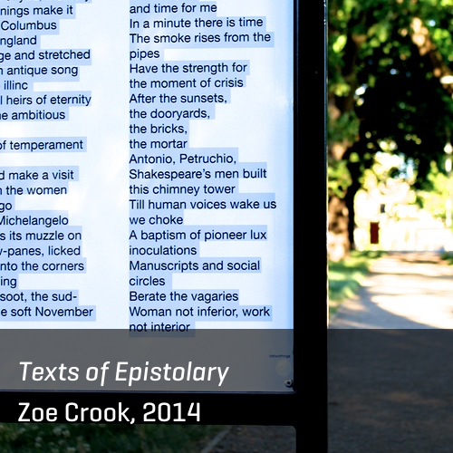 Texts of Epistolary, Zoe Crook