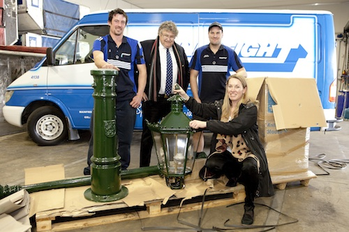 Deborah McCormick (SCAPE Public Art) and Neil Graham (Mainfreight) welcome the Düsseldorf lamp post to Christchurch.
