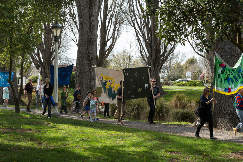 Fiona Jack, Ōtākaro Plant Parade, 2015. Commissioned by SCAPE Public Art. Image courtesy of the artist. Photo by Bridgit Anderson.